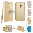 Bling Diamond PU Leather Magnetic Stand Folio Case Cover For Samsung J3 J5 2017