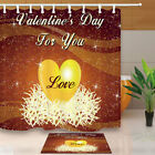 """Valentine's Day For You LOVE Bathroom Fabric Shower Curtain Set With Hooks 71"""""""