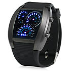 Rubber Band Car Watch/Table Blue Light Display Time Arch Shaped Digital Watch