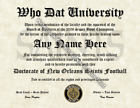 New Orleans Saints #1 Fan Custom Diploma Certificate for Man Cave NFL Novelty