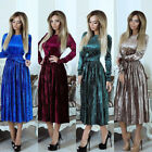 Women Lady Long Sleeve Velvet Slim Pleated Dress Party Evening Crewneck Flared