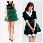 Women Christmas Girl Elf Tiered Swing Xmas Green Tree Velvet Dress Kids Costumes