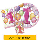 1st BIRTHDAY BALLOONS PINK Girl Party Range - Age 1 Tableware & Decorations (1C)