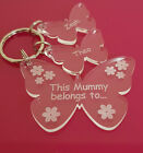 PERSONALISED MOTHERS DAY GIFT BIRTHDAY BUTTERFLY KEYRING MUM NAN MUMMY CHRISTMAS