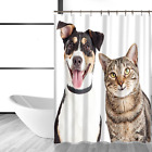 Fabric Shower Curtain for Bathroom with 12 hooks Cute Cats Dogs Pug Chiwawa Poly