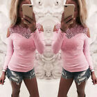 UK Womens T Shirt Casual Long Sleeve Lace Cold Shoulder Blouse Ladies Slim Tops