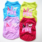 Small Pet Dog Clothes Costume Pink Letters Puppy Cat T-Shirt Summer Apparel Vest