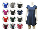 Womens New Look Skater Swing Dress Fade Denim Look Blue Size 6 to 16 Ladies WD30
