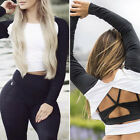 Women Sexy Long Sleeve Slim Fit Backless T-shirt Crop Tops Workout Blouse S-XL