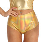 Womens Shiny Leather Tight High Waisted Booty Shorts Rave Dance Bottoms Swimwear