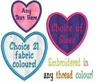 PERSONALISED CRAFT PATCH EMBROIDERED ANY NAME TEXT COLOUR - SEW ON HEART BADGE