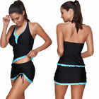 Plus Size Swim Dress Swimsuit Women Push-up Two Piece Bikini Swimwear Tankini