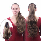 Long curly Wavy Ponytail clip Wrap On Hair Extensions Natural Daily Woman D5