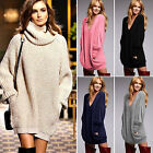 Women's Chunky Knitted Long Sleeve Jumper Top Oversize Pullover Sweater Dress