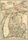 1874 Michigan Railroad Map Wall Art Poster Print Decor Vintage History