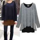 Womens Irregular Long Blouse Shirt Loose Tunic T-shirt Pullover Tops Plus Size
