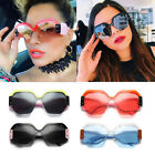 NEW LARGE OVERSIZED LADIES WOMEN SUNGLASSES DESIGNER HALF FRAME RETRO FASHION BK