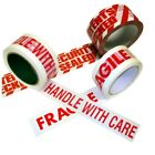 Printed Parcel Packing Tape 50mm x 66m FRAGILE HANDLE WITH CARE CONTENTS CHECKED