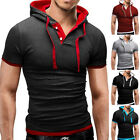 Mens Slim Fit Short Sleeve T Shirt Hoodie Hooded Muscle Tops Solid Casual Shirts image
