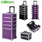makeup professional case - Professional Makeup Rolling Trolley 4in1 Wheeled Aluminum Beauty Cosmetic Case