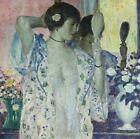 FREDERICK FRIESEKE The Hand Mirror DRESSING gown corset vase bare CANVAS/PAPER