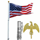 20' 25' FT Aluminum Flag Pole Telescopic Flagpole Kit 3' x 5' American U.S Flag