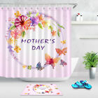 Waterproof Bathroom Shower Curtain Hook Bath Mat Watercolor Flowers Mother's Day