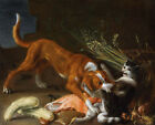 "FLEMISH SCHOOL ""Dog and Cat Fighting"" FEROCIOUS bite basket meat gourd CANVAS"