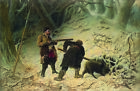 """VASILY PEROV """"Hunting for Boar"""" SNOW dog russia hunters pelt tree roots CANVAS"""