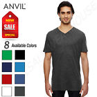 NEW Anvil Men's 100% Cotton Short Sleeve Featherweight V Neck T-Shirt M-352