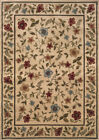 Beige Cottage Border Vines Area Rug Floral 1196C