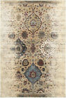Ivory Petals Faded Distressed Curves Contemporary Area Rug Geometric 028W4