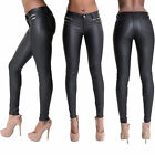 WOMEN'S BLACK LEATHER TROUSERS Synthetic Breathable Skinny Jeans PLUS SIZE 10-20
