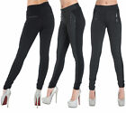 WOMEN'S SEXY BLACK TROUSERS with Grey Panel Stretch Legging Skinny Fit Size 8-20