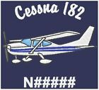 CUSTOM - Embroidered Cessna 182 Airplane Left Chest Design on T-Shirt