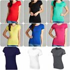 Basic Short Sleeve Women  Stretch Crew-Neck Plain Top  Color T-Shirt  Jr.  (S-L)