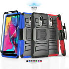 FOR [LG STYLO 4] CASE [REFINED SERIES] COVER & HOLSTER +BLACK TEMPERED GLASS