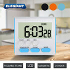 ELEGIANT Magnetic LCD Digital Kitchen Timer Count Up Down Desk Alarm Clock USA
