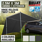 BULLET 4WD Roof Rack Car Awning & Extension 4x4 Pull-Out Tent Side Shade 2.5mx3m