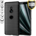[SONY XPERIA SERIES] BRUSHED BLACK SOFT TPU COVER CASE + SCREEN PROTECTOR