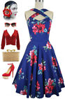 Blue/Red Island Floral Caged Heart CRISS-CROSS Halter Dress w/POCKETS Sizes S-3X