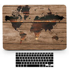 Wood The World Map Hard Front Back Case Cover for Macbook Air Pro TouchBar 11-15
