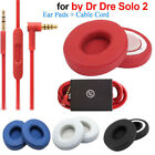 Replacement Ear Pads Cushion+ Audio Cable Cord  For Beats By Dr Dre Solo 2 Wired