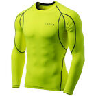 Tesla MUD11 Cool Dry Long Sleeve Compression Shirt - Neon Yellow/Dark Gray