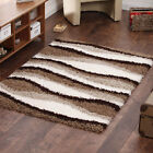 5CM THICK PILE STRIPES WAVY BEIGE IVORY RUG MODERN SHAGGY CLEARANCE QUALITY RUG