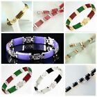 Natural Jade & Agate & Turquoise Gemstone Lucky Link Bracelet Silver/Gold Plated