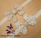 BABY WHITE IVORY CREAM VINTAGE LACE FLOWER BOW HEADBAND CLIP WEDDING CHRISTENING
