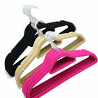 50 x Non Slip Flocked Velvet Coat Clothes Trousers Hanging Hangers With Bar