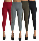 WOMEN'S STRETCHY LEGGINGS Full Length Ribbed Jeggings Black Red Khaki ONE SIZE