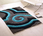 Super Soft Thick Modern 3D Shiny Shaggy Grey Teal Rug Non Shed Deep Pile Rug
